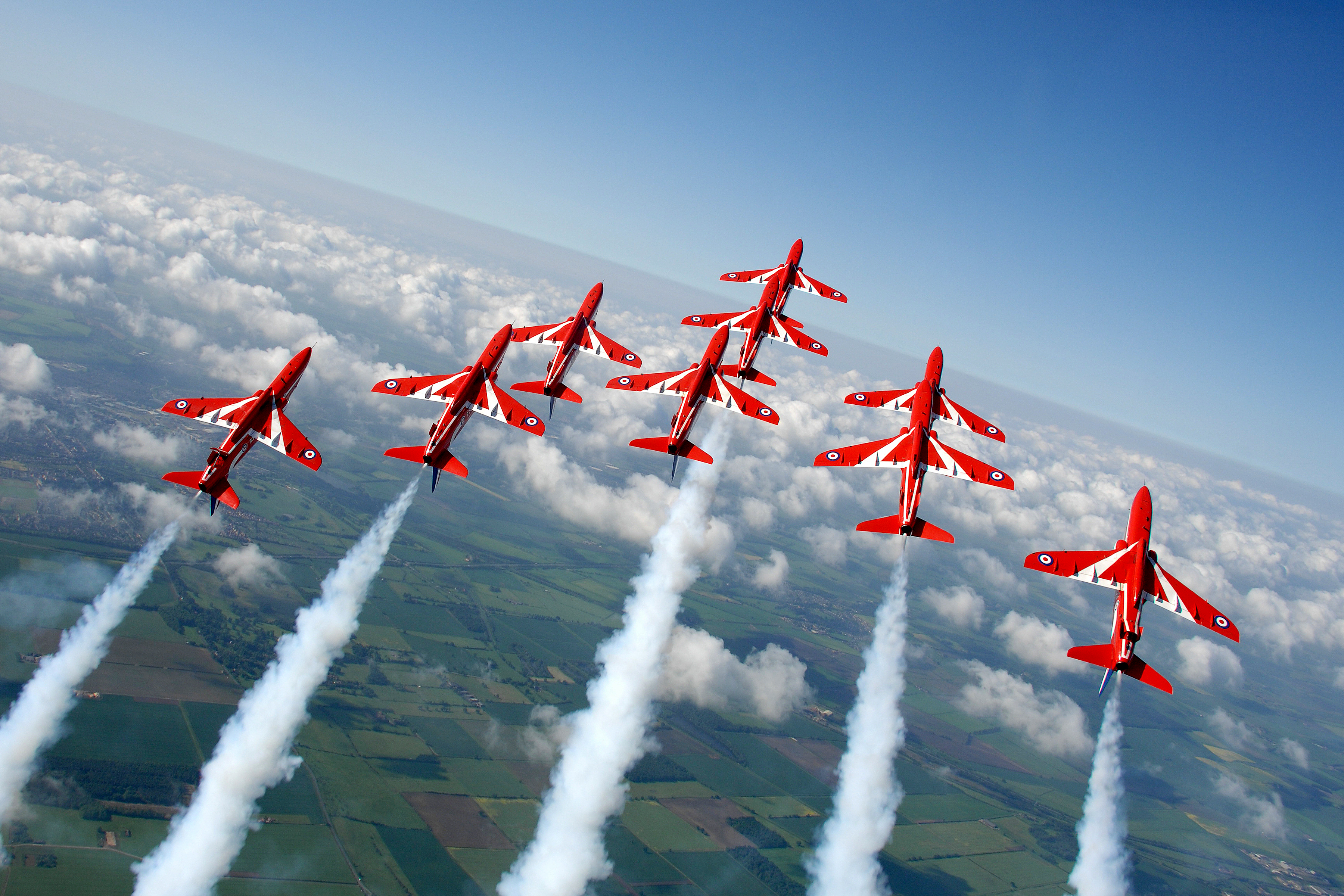 The Red Arrows display over RAF Scampton